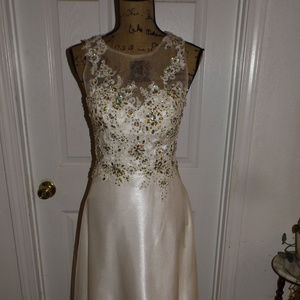 White Satin Pageant/Prom Formal Gown